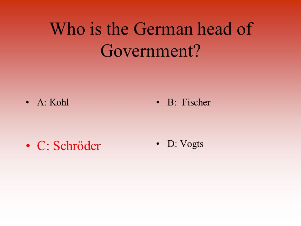 Who is the German head of Government A: KohlB: Fischer C: SchröderD: Vogts