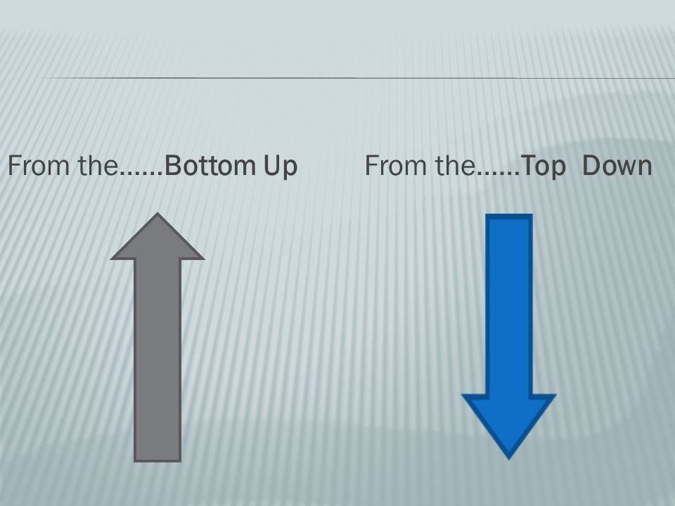 From the……Bottom Up From the……Top Down