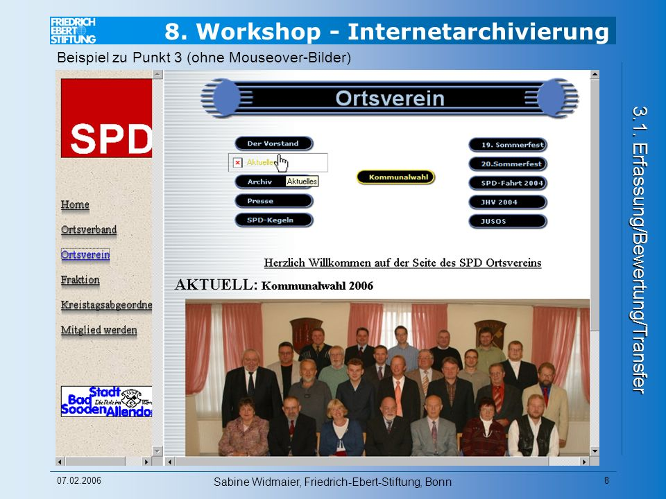 8. Workshop - Internetarchivierung 3.1.