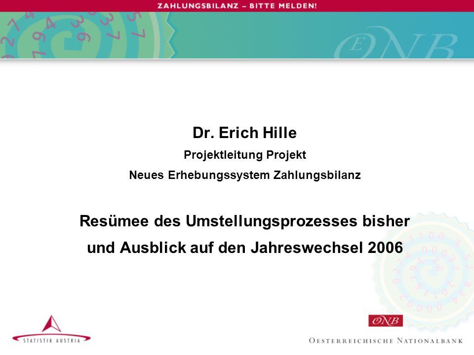 Dr Erich Hille Projektleitung Projekt Neues Erhebungssystem