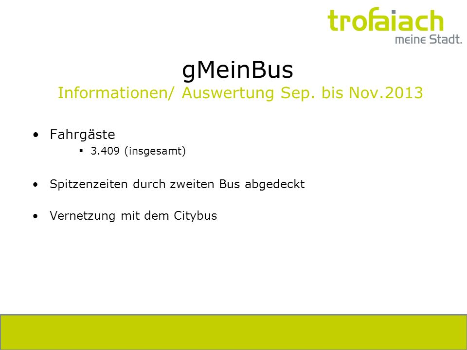 gMeinBus Informationen/ Auswertung Sep.