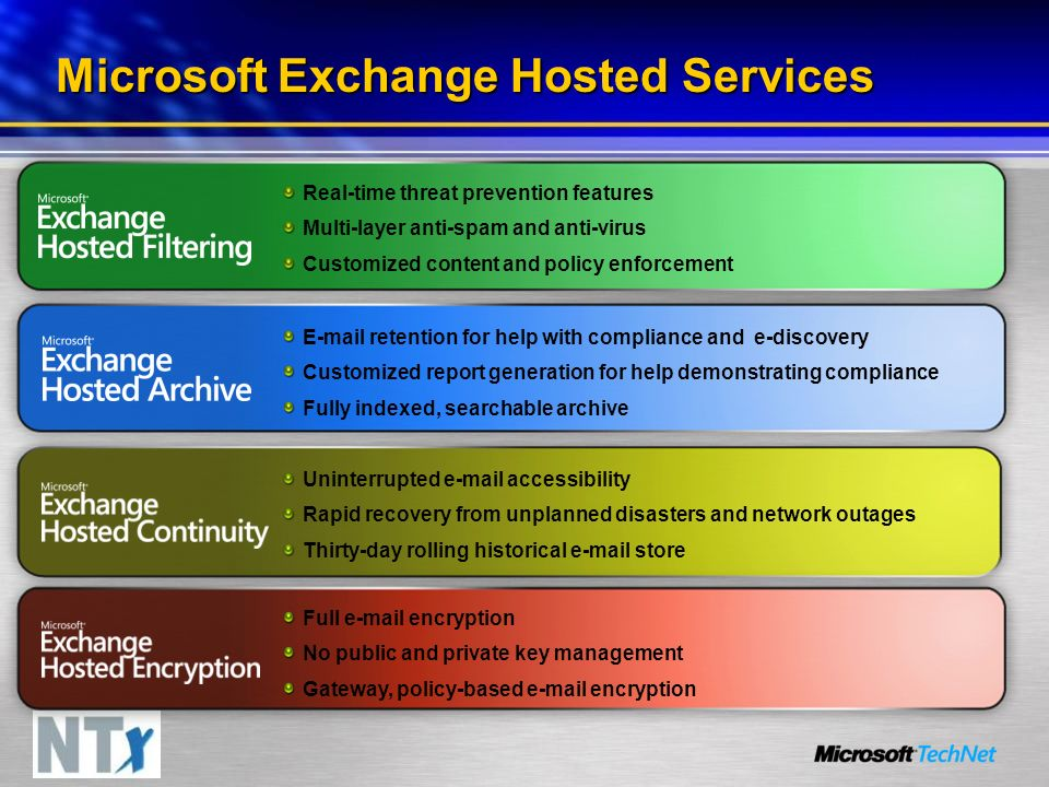 Microsoft Exchange Hosted Services Real-time threat prevention features Multi-layer anti-spam and anti-virus Customized content and policy enforcement E-mail retention for help with compliance and e-discovery Customized report generation for help demonstrating compliance Fully indexed, searchable archive Full e-mail encryption No public and private key management Gateway, policy-based e-mail encryption Uninterrupted e-mail accessibility Rapid recovery from unplanned disasters and network outages Thirty-day rolling historical e-mail store