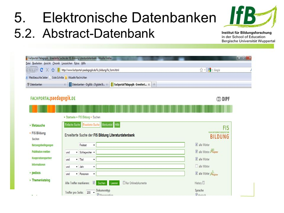 5.Elektronische Datenbanken 5.2.Abstract-Datenbank