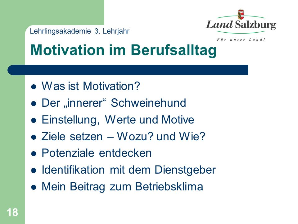 18 Motivation im Berufsalltag Was ist Motivation.