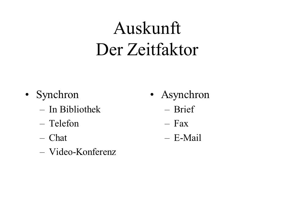 Auskunft Der Zeitfaktor Synchron –In Bibliothek –Telefon –Chat –Video-Konferenz Asynchron –Brief –Fax –E-Mail