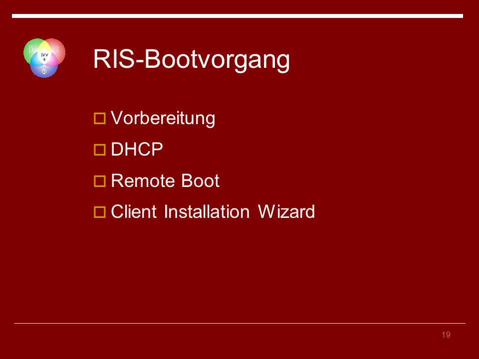 19 RIS-Bootvorgang Vorbereitung DHCP Remote Boot Client Installation Wizard