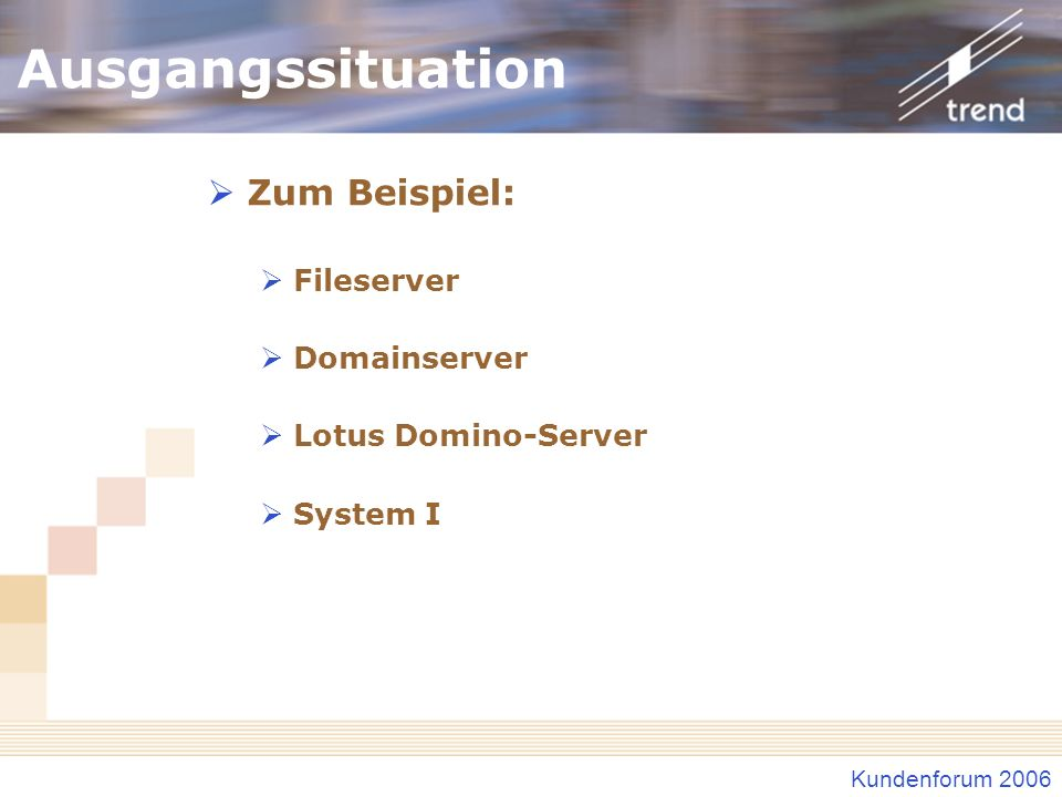 Kundenforum 2006 Ausgangssituation Zum Beispiel: Fileserver Domainserver Lotus Domino-Server System I