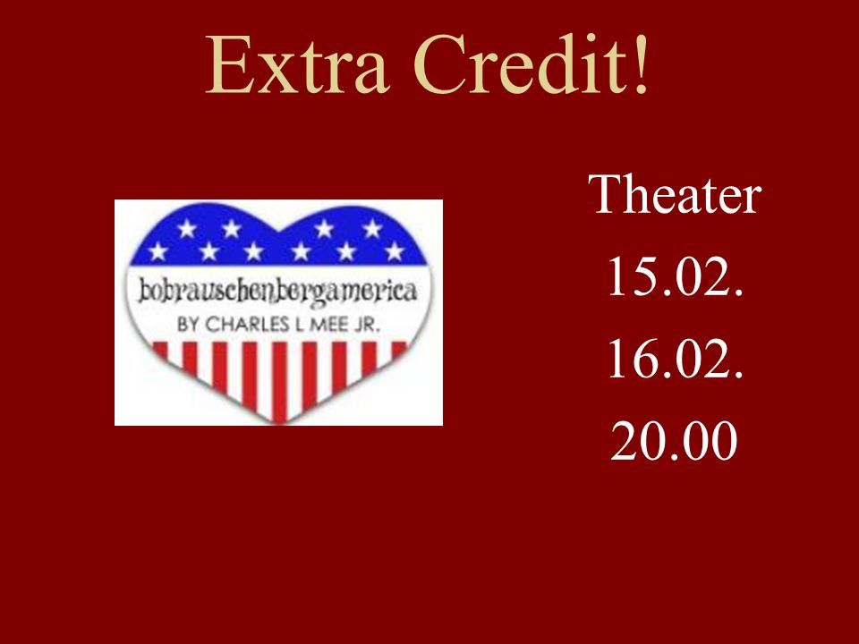 Extra Credit! Theater