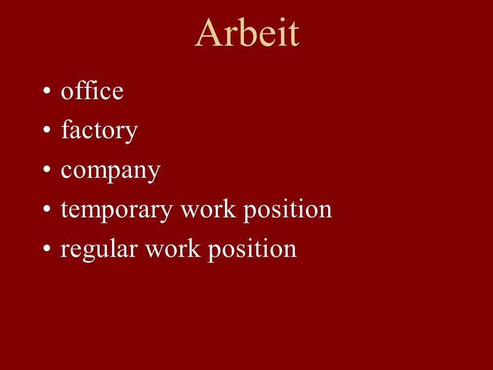 Arbeit office factory company temporary work position regular work position