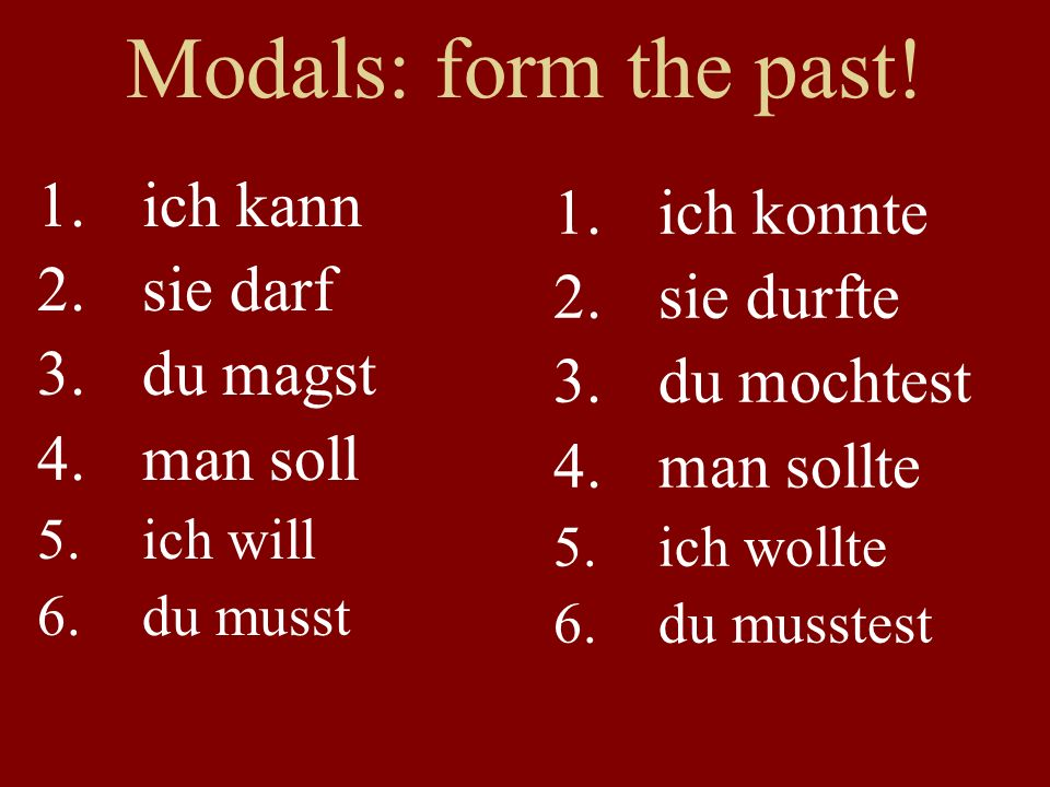 Modals: form the past.