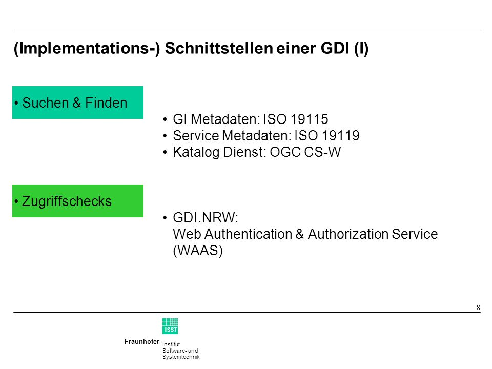 Institut Software- und Systemtechnik Fraunhofer ISST 7 Environment BEnvironment A Encoding: jpg,GML,...