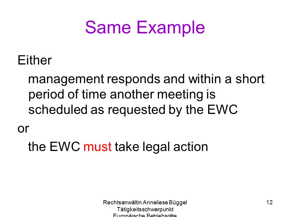Rechtsanwältin Anneliese Büggel Tätigkeitsschwerpunkt Europäische Betriebsräte 12 Same Example Either management responds and within a short period of time another meeting is scheduled as requested by the EWC or the EWC must take legal action
