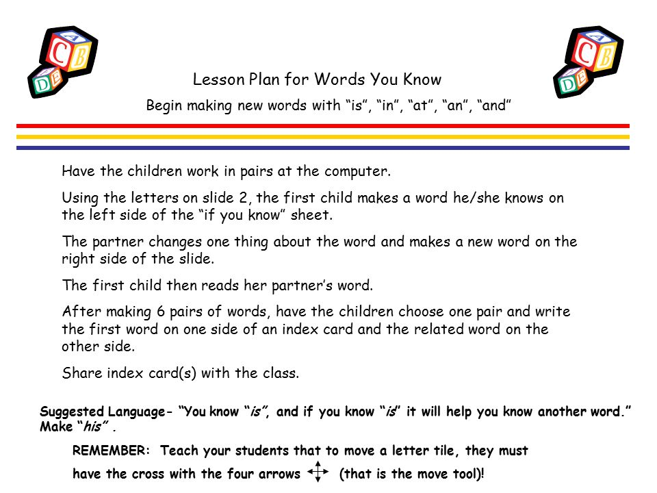 Lesson Plan for Words You Know Suggested Language- You know is , and if you know is it will help you know another word. Make his .
