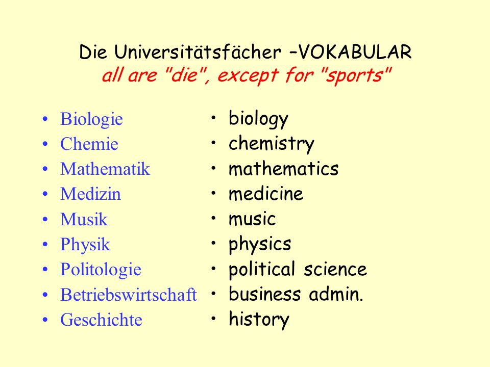Die Universitätsfächer –VOKABULAR all are die , except for sports Biologie Chemie Mathematik Medizin Musik Physik Politologie Betriebswirtschaft Geschichte biology chemistry mathematics medicine music physics political science business admin.