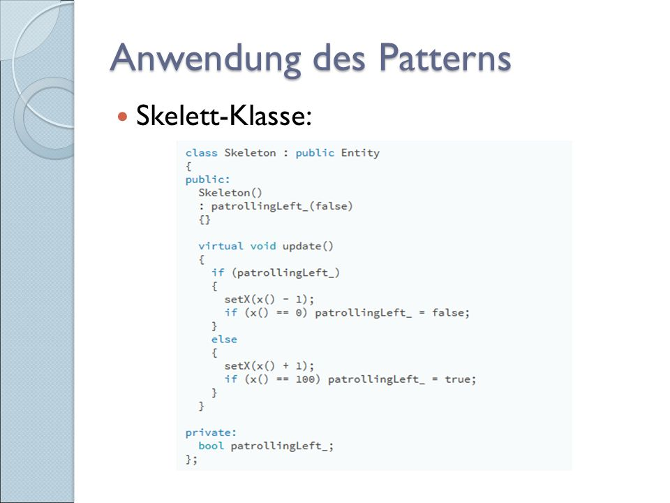 Anwendung des Patterns Skelett-Klasse: