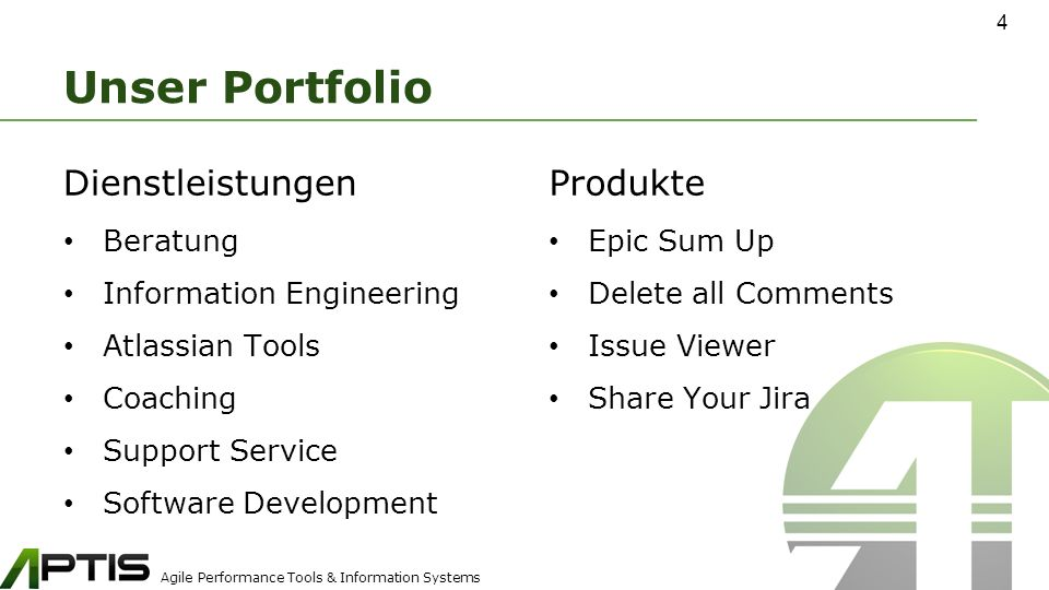 Agile Performance Tools & Information Systems Unser Portfolio Produkte Epic Sum Up Delete all Comments Issue Viewer Share Your Jira 4 Dienstleistungen Beratung Information Engineering Atlassian Tools Coaching Support Service Software Development
