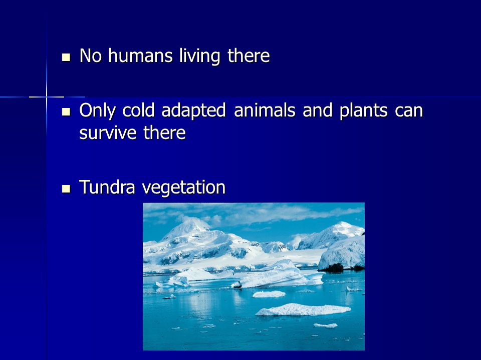 No humans living there No humans living there Only cold adapted animals and plants can survive there Only cold adapted animals and plants can survive there Tundra vegetation Tundra vegetation