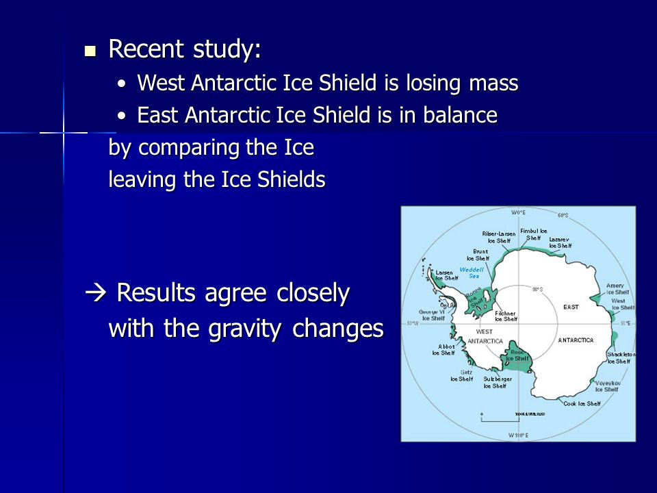 Recent study: Recent study: West Antarctic Ice Shield is losing massWest Antarctic Ice Shield is losing mass East Antarctic Ice Shield is in balanceEast Antarctic Ice Shield is in balance by comparing the Ice leaving the Ice Shields  Results agree closely with the gravity changes