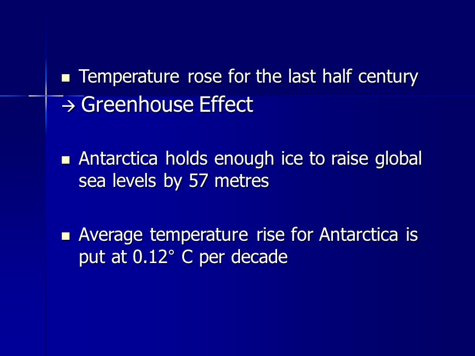 Temperature rose for the last half century Temperature rose for the last half century  Greenhouse Effect Antarctica holds enough ice to raise global sea levels by 57 metres Antarctica holds enough ice to raise global sea levels by 57 metres Average temperature rise for Antarctica is put at 0.12° C per decade Average temperature rise for Antarctica is put at 0.12° C per decade