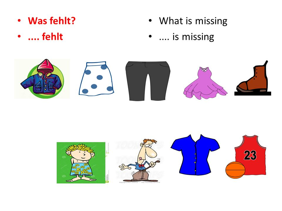 Was fehlt .... fehlt What is missing.... is missing