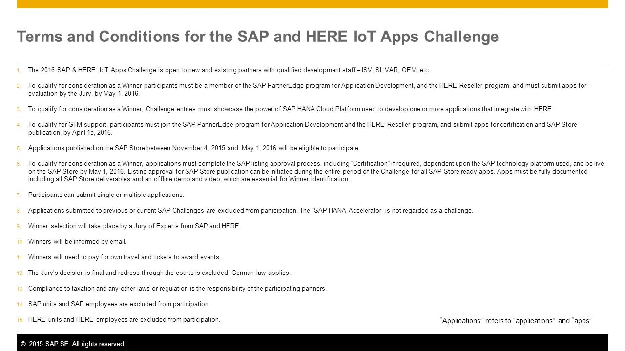 ©2015 SAP SE. All rights reserved. Terms and Conditions for the SAP and HERE IoT Apps Challenge 1.