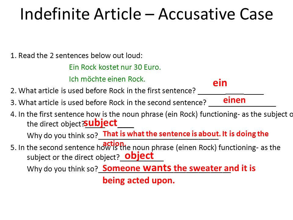 Indefinite Article – Accusative Case 1.