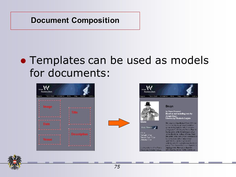 75 Document Composition Templates can be used as models for documents: