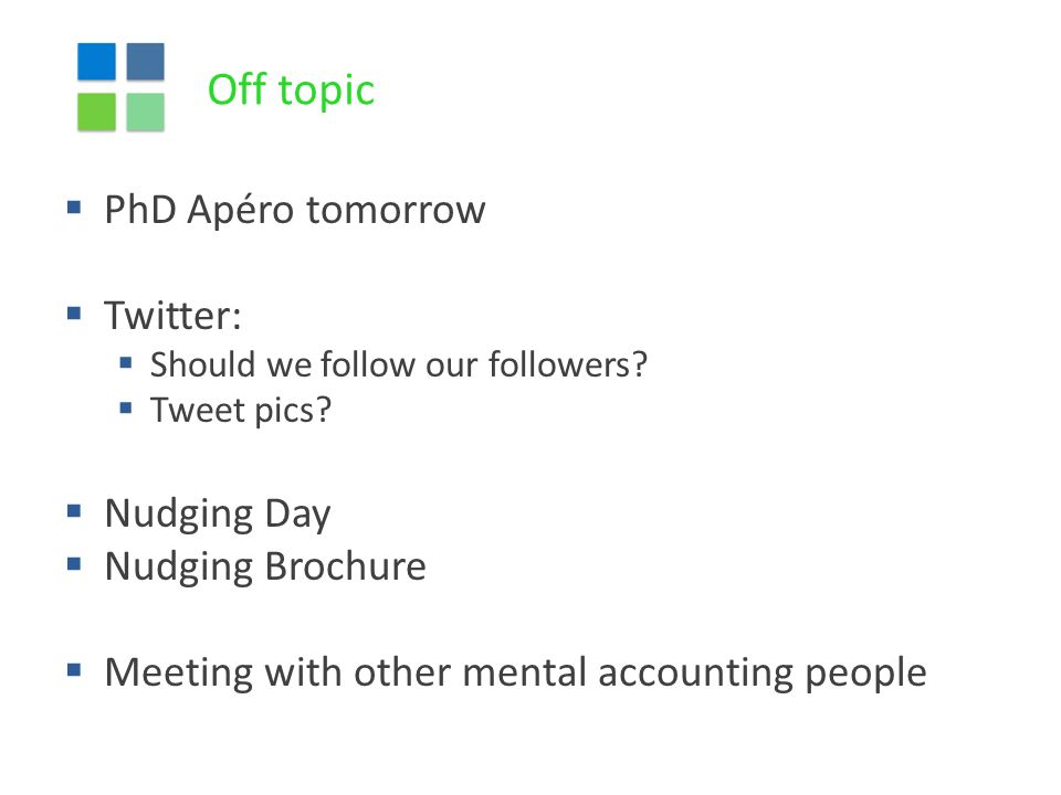 Off topic  PhD Apéro tomorrow  Twitter:  Should we follow our followers.
