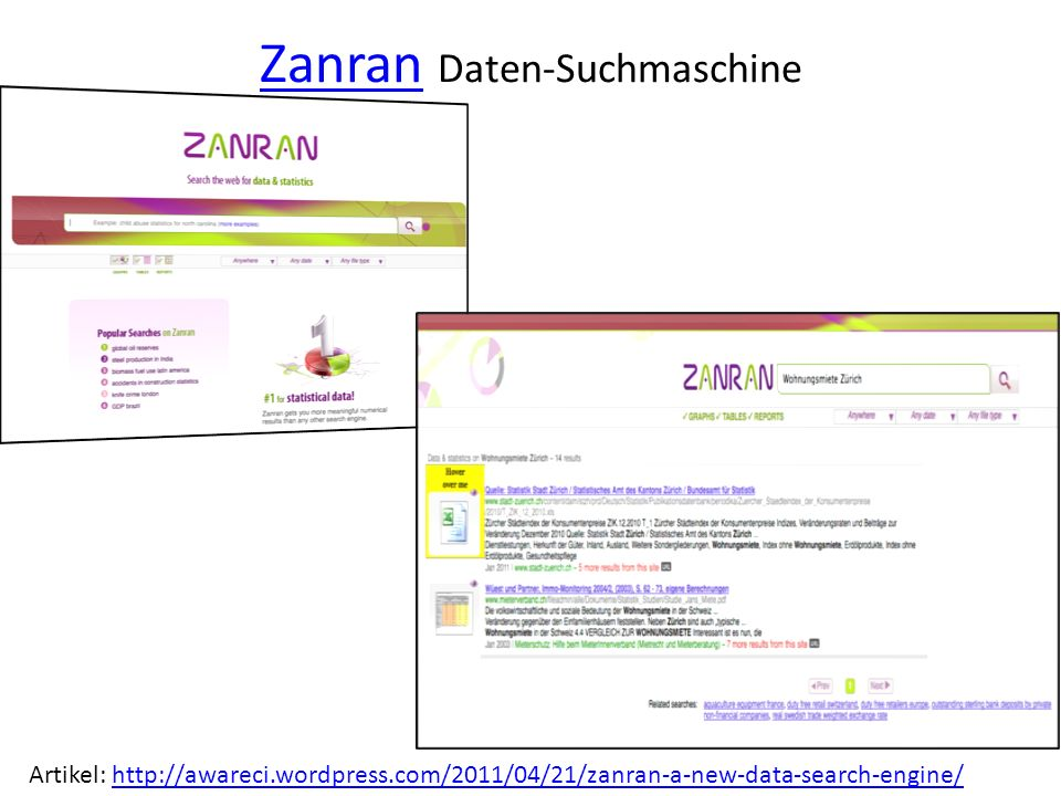 ZanranZanran Daten-Suchmaschine Artikel: http://awareci.wordpress.com/2011/04/21/zanran-a-new-data-search-engine/http://awareci.wordpress.com/2011/04/21/zanran-a-new-data-search-engine/