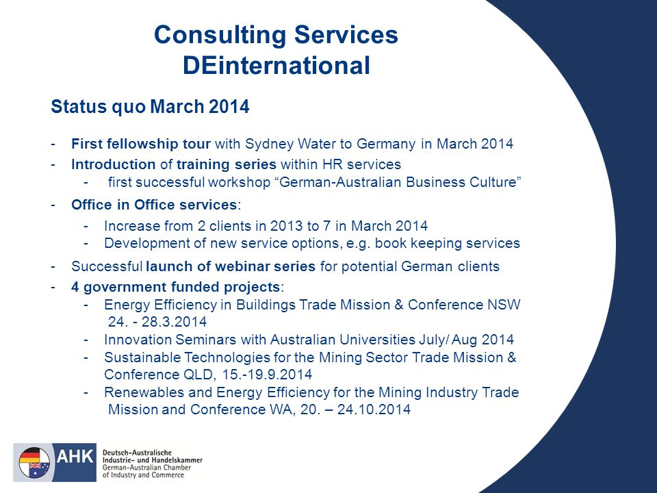 Consulting Services DEinternational Status quo March 2014 -First fellowship tour with Sydney Water to Germany in March 2014 -Introduction of training series within HR services - first successful workshop German-Australian Business Culture -Office in Office services: -Increase from 2 clients in 2013 to 7 in March 2014 -Development of new service options, e.g.
