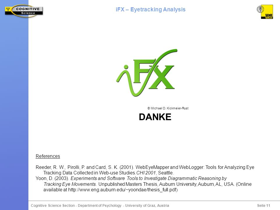 Seite 11 Cognitive Science Section - Department of Psychology - University of Graz, Austria iFX – Eyetracking Analysis DANKE © Michael D.