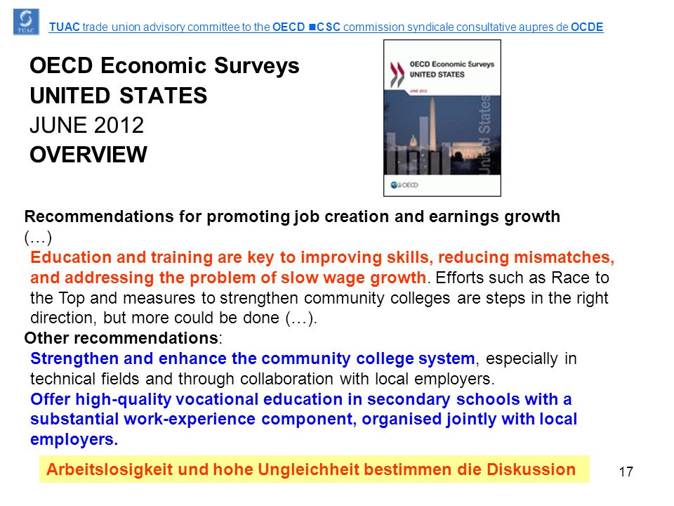 17 OECD Economic Surveys UNITED STATES JUNE 2012 OVERVIEW TUAC trade union advisory committee to the OECD CSC commission syndicale consultative aupres de OCDE Recommendations for promoting job creation and earnings growth (…) Education and training are key to improving skills, reducing mismatches, and addressing the problem of slow wage growth.