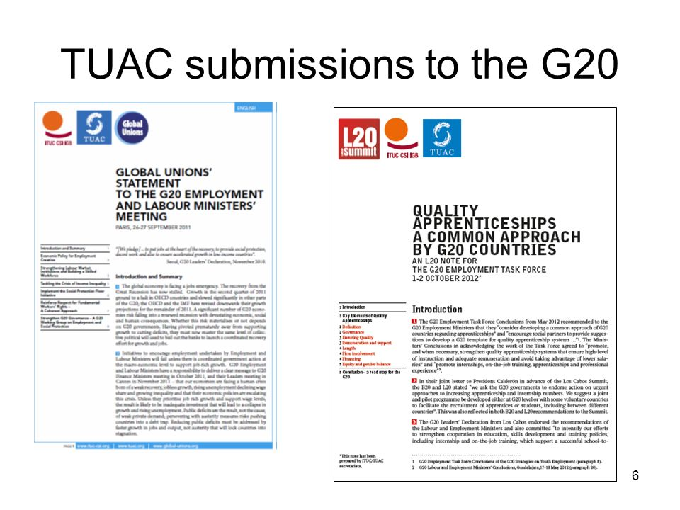6 TUAC submissions to the G20