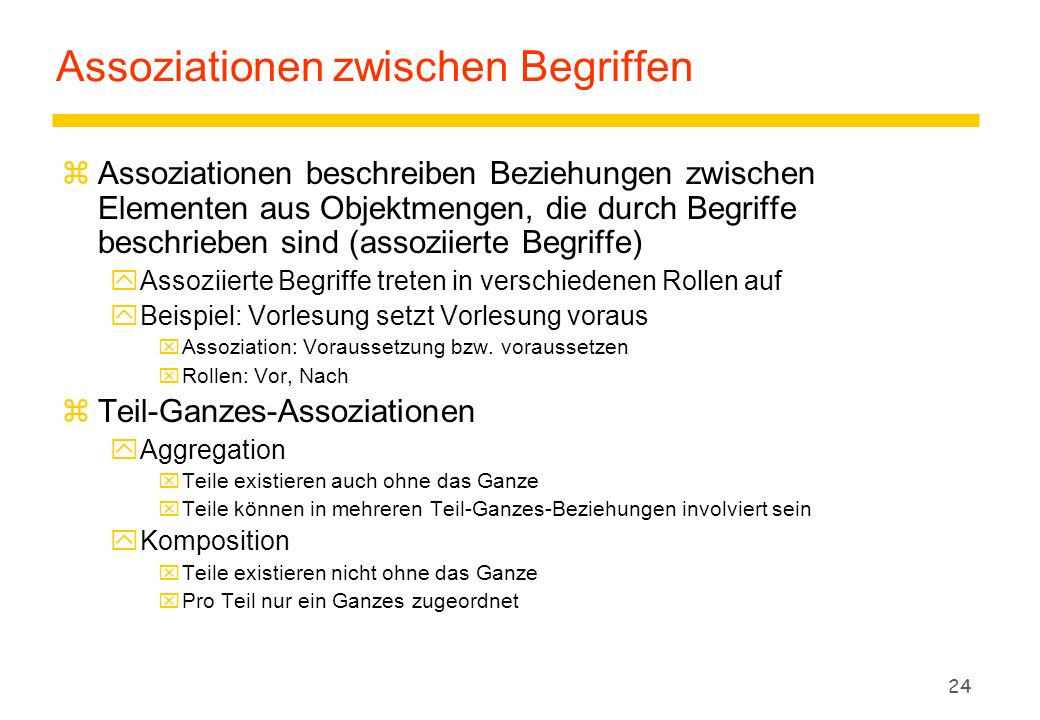 23 Beispiel: Point of Sale Terminal (3) Product Specification POST ItemCashier Customer Payment Sales LineItem Product Catalog Store Sale Manager Anfänglich identifizierte BegriffeIterativ identifizierte Begriffe