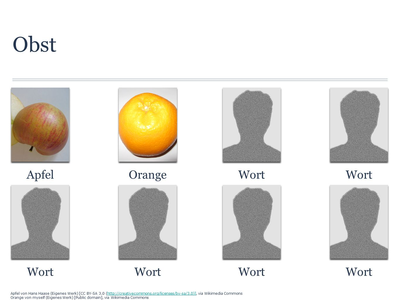 Obst ApfelOrangeWort Apfel von Hans Haase (Eigenes Werk) [CC BY-SA 3.0 (http://creativecommons.org/licenses/by-sa/3.0)], via Wikimedia Commonshttp://creativecommons.org/licenses/by-sa/3.0)] Orange von myself (Eigenes Werk) [Public domain], via Wikimedia Commons