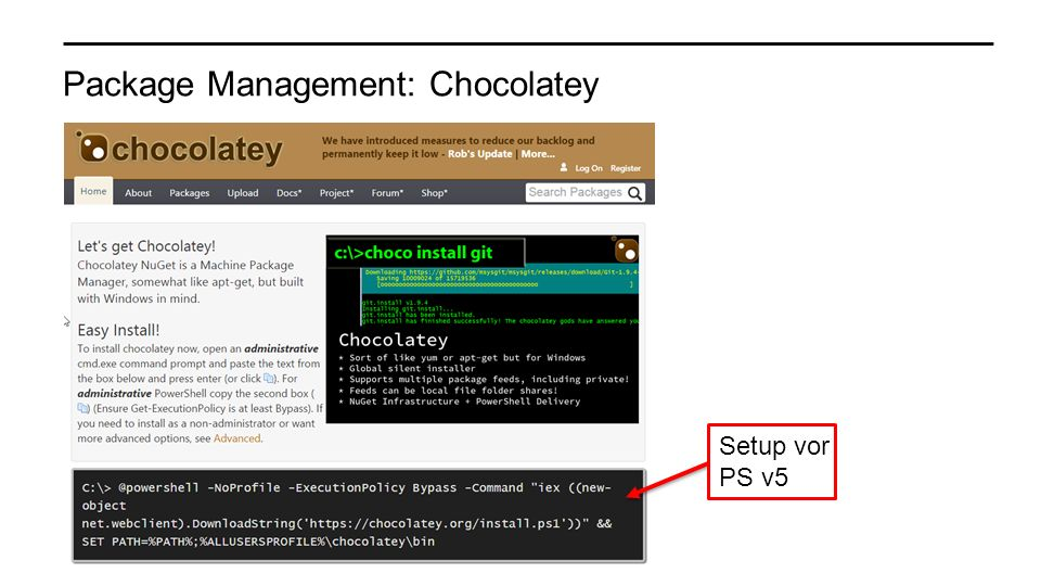 Package Management: Chocolatey Setup vor PS v5