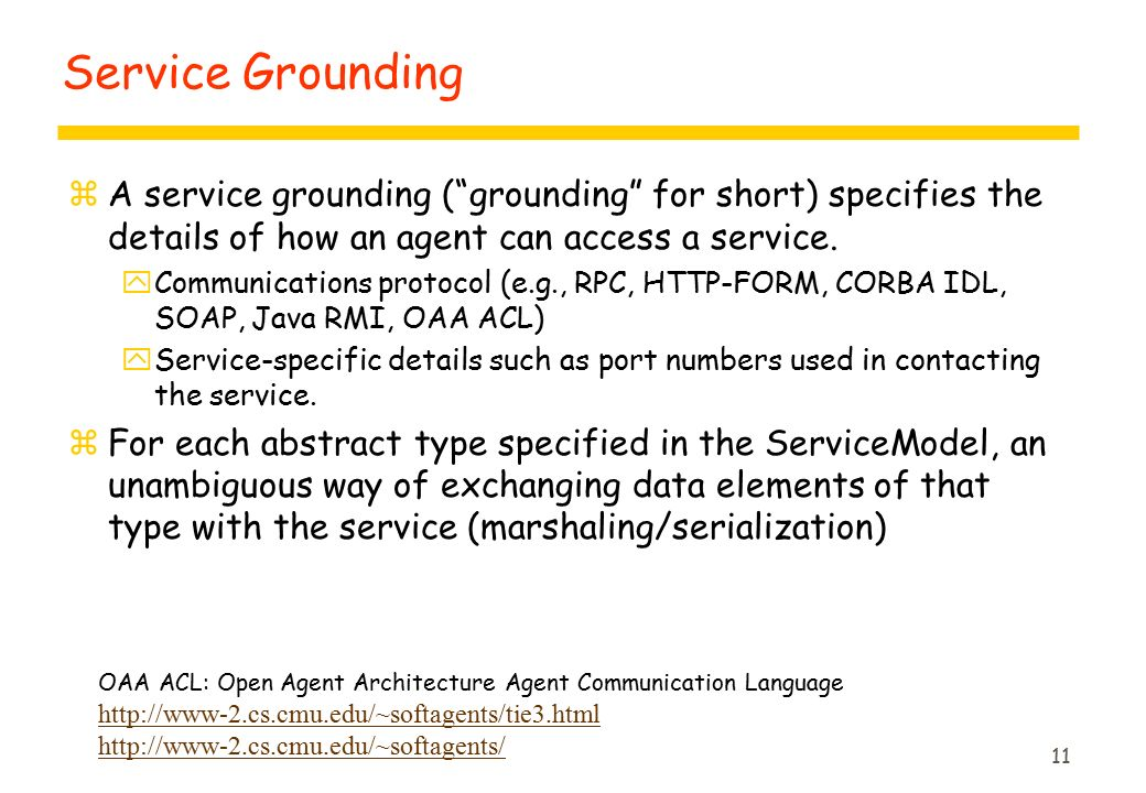 11 Service Grounding zA service grounding ( grounding for short) specifies the details of how an agent can access a service.