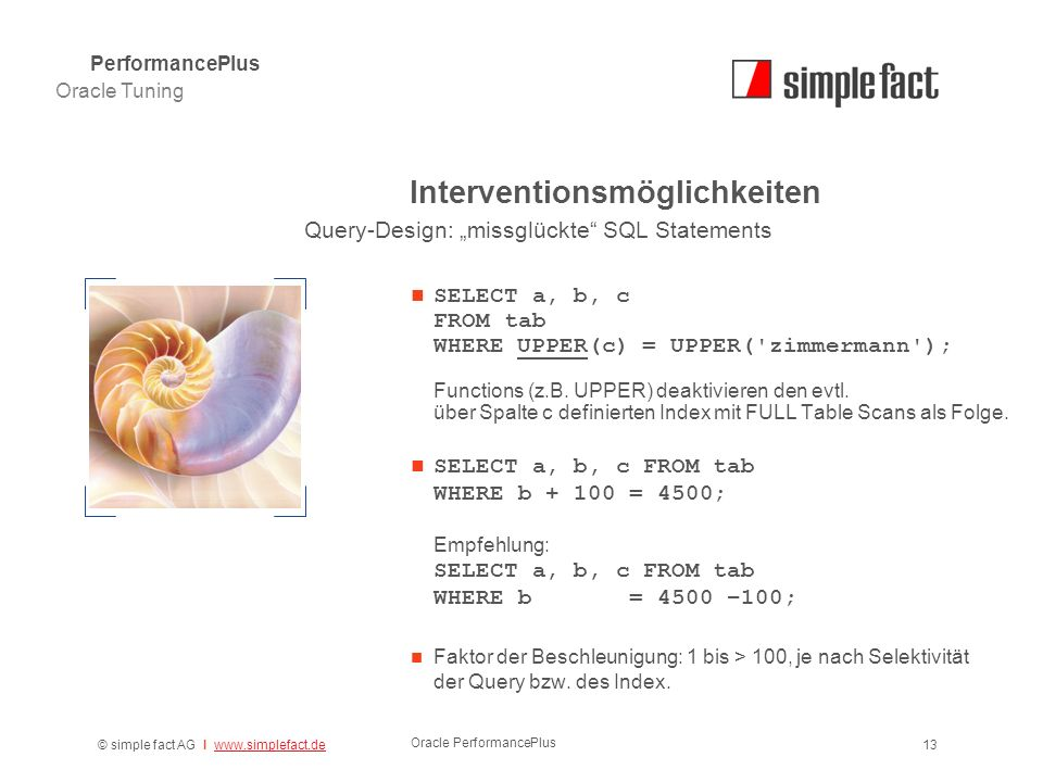 © simple fact AG I www.simplefact.dewww.simplefact.de Oracle PerformancePlus 13 Interventionsmöglichkeiten SELECT a, b, c FROM tab WHERE UPPER(c) = UPPER( zimmermann ); Functions (z.B.