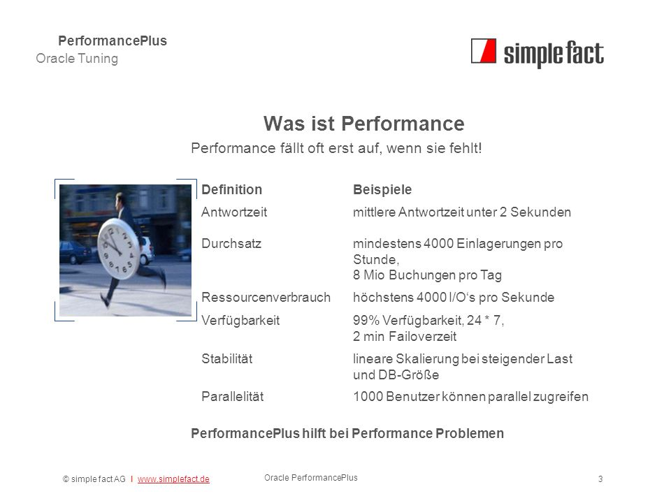 © simple fact AG I www.simplefact.dewww.simplefact.de Oracle PerformancePlus 3 Was ist Performance PerformancePlus hilft bei Performance Problemen Oracle Tuning PerformancePlus Performance fällt oft erst auf, wenn sie fehlt.