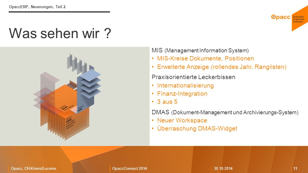 Opacc, CH-Kriens/LucerneOpaccConnect 201430.10.2014 11 Was sehen wir .