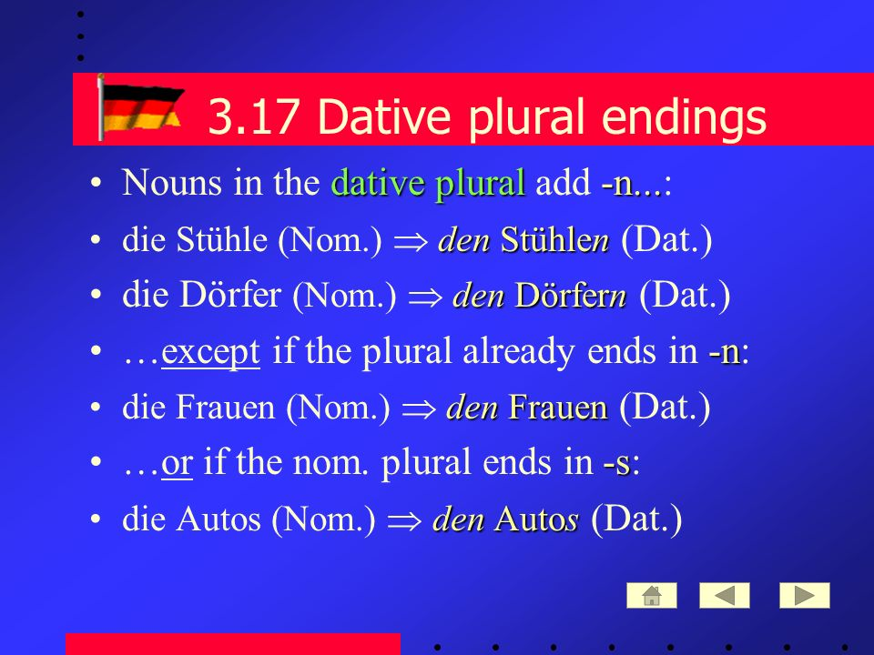 3.17 Dative plural endings dative plural-n...Nouns in the dative plural add -n...: den Stühlendie Stühle (Nom.) den Stühlen (Dat.) den Dörferndie Dörfer (Nom.) den Dörfern (Dat.) -n…except if the plural already ends in -n: den Frauendie Frauen (Nom.) den Frauen (Dat.) -s…or if the nom.