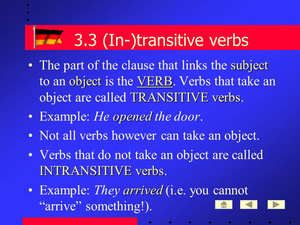 3.3 (In-)transitive verbs subject objectVERB TRANSITIVE verbsThe part of the clause that links the subject to an object is the VERB.