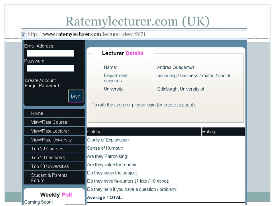Ratemylecturer.com (UK)