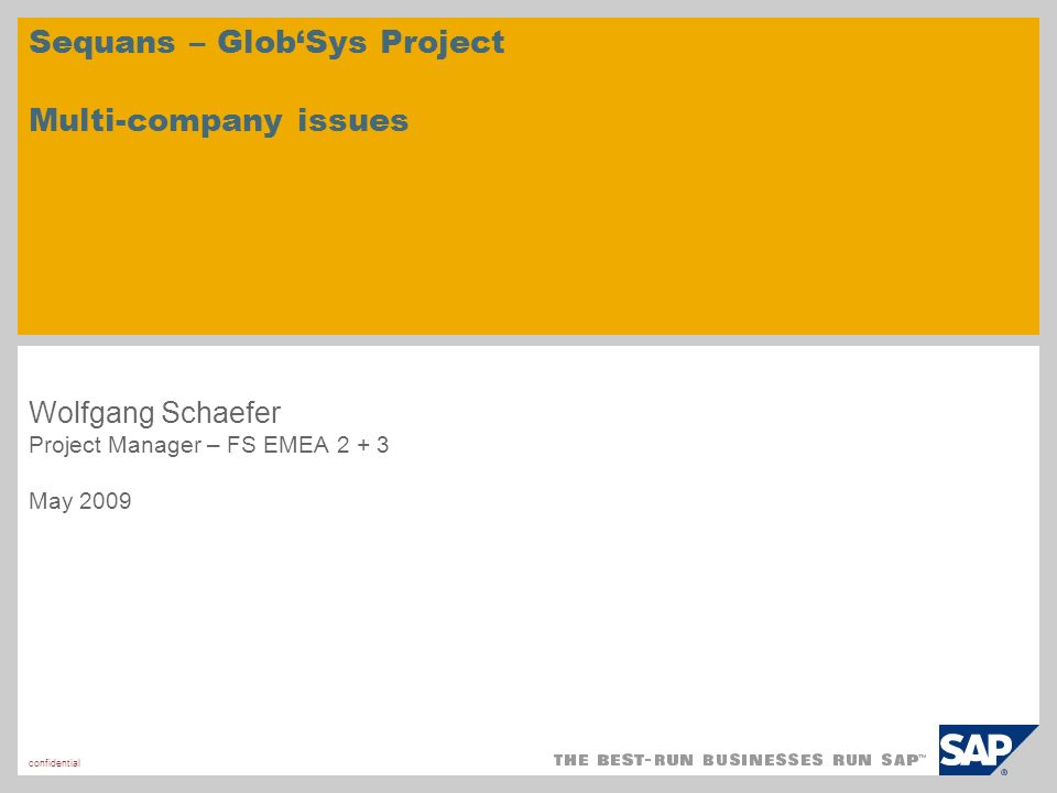 confidential Sequans – GlobSys Project Multi-company issues Wolfgang Schaefer Project Manager – FS EMEA 2 + 3 May 2009