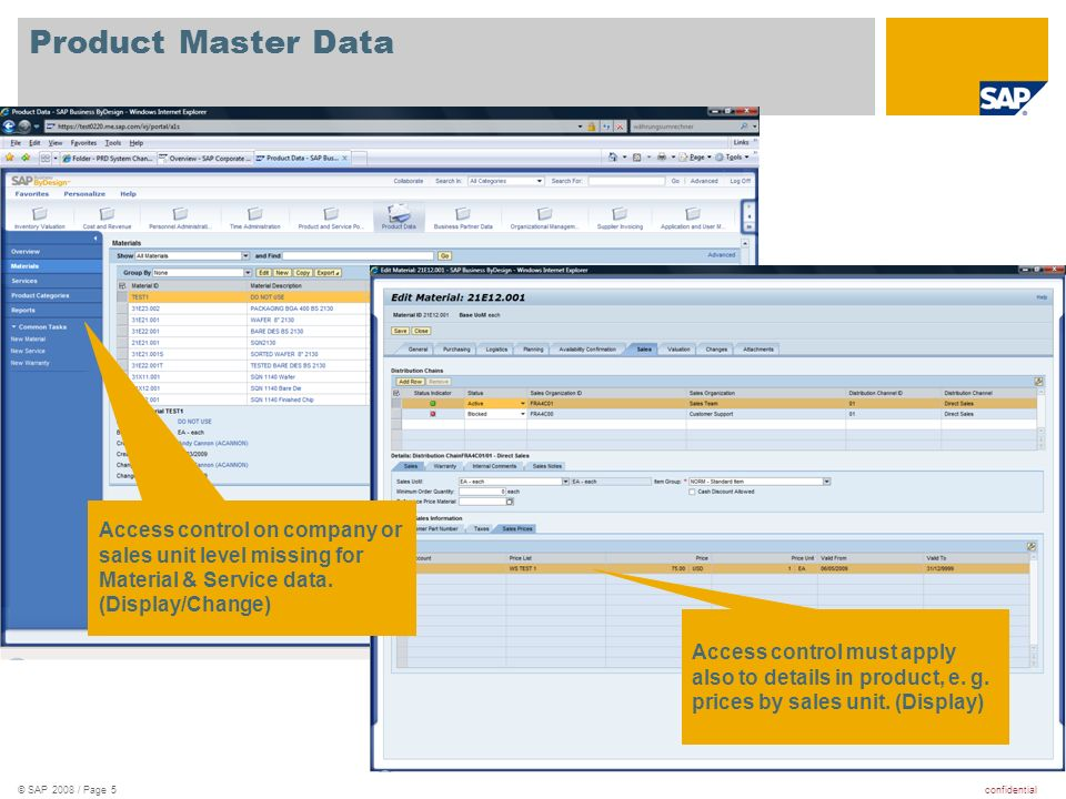 confidential© SAP 2008 / Page 5 Product Master Data Access control must apply also to details in product, e.