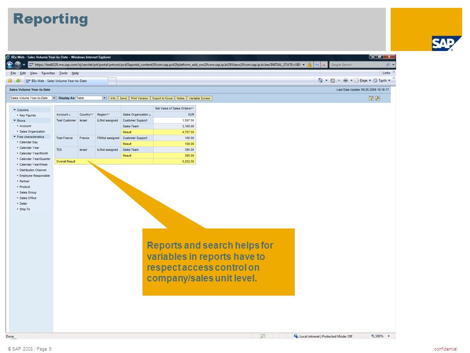 confidential© SAP 2008 / Page 9 Reporting Reports and search helps for variables in reports have to respect access control on company/sales unit level.