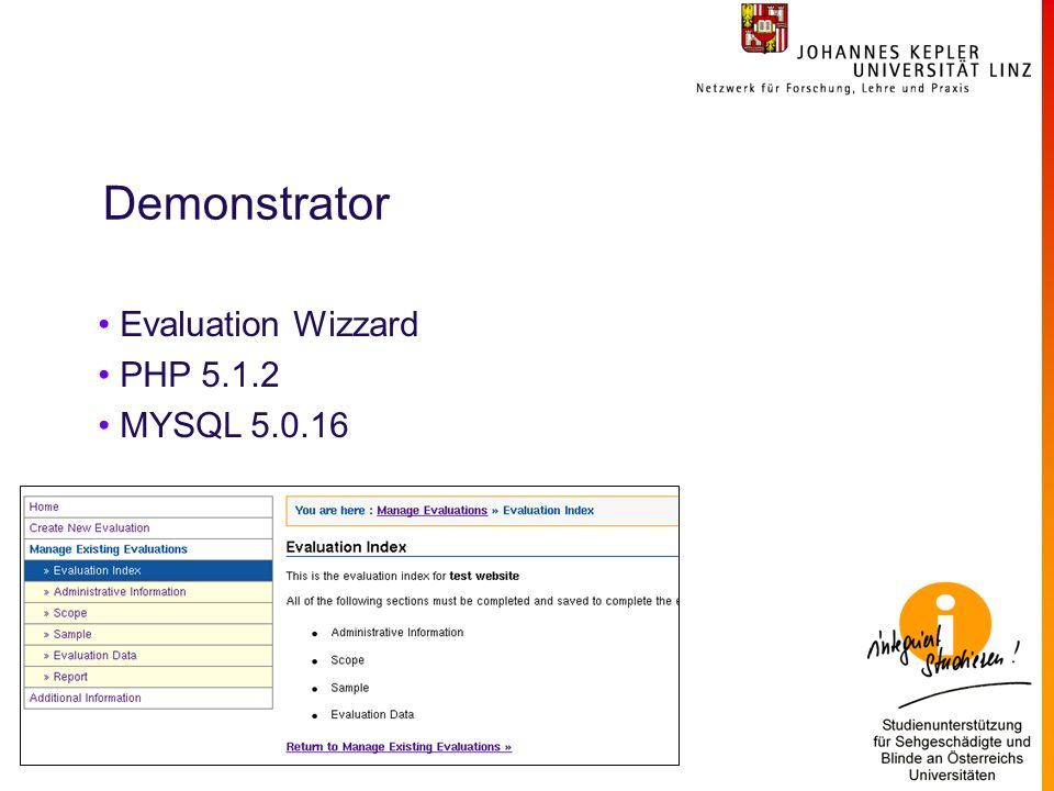 Demonstrator Evaluation Wizzard PHP 5.1.2 MYSQL 5.0.16