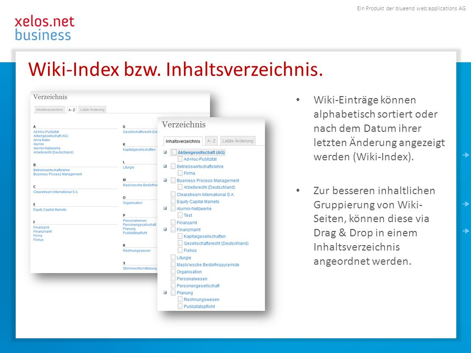 Ein Produkt der blueend web:applications AG Wiki-Index bzw.