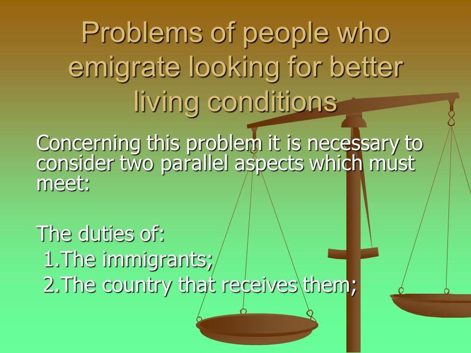 Problems of people who emigrate looking for better living conditions Concerning this problem it is necessary to consider two parallel aspects which must meet: The duties of: 1.The immigrants; 1.The immigrants; 2.The country that receives them; 2.The country that receives them;