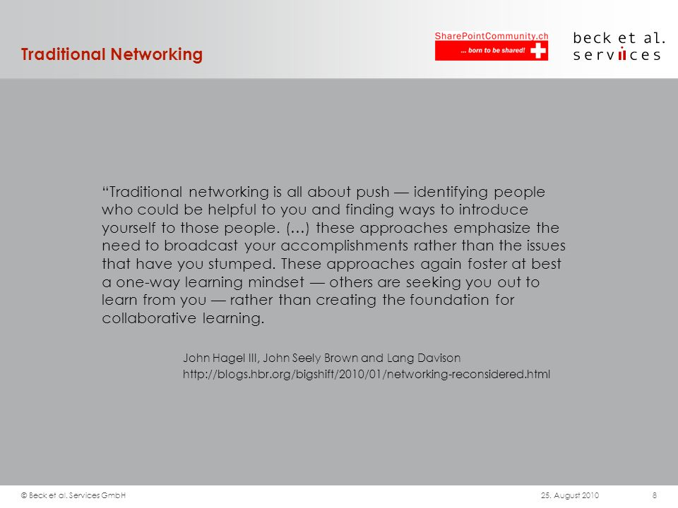 Traditional Networking Traditional networking is all about push identifying people who could be helpful to you and finding ways to introduce yourself to those people.